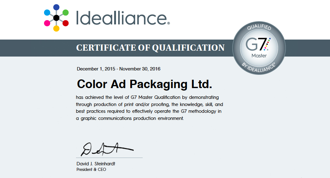 idealliance certificate of qualification - first G7 Master Qualification in Canada