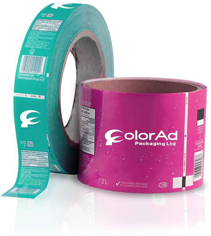 pink and green roll fed Color Ad Packaging Ltd. beverage lablels